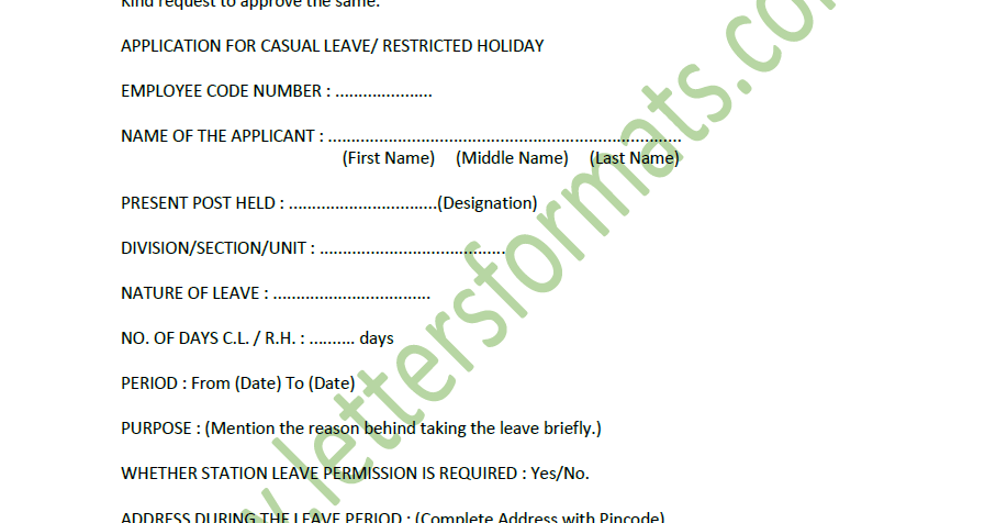 what is casual leave application
