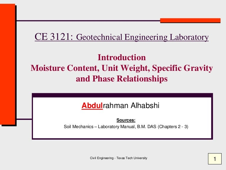 applications of specific gravity in geotechnical engineering