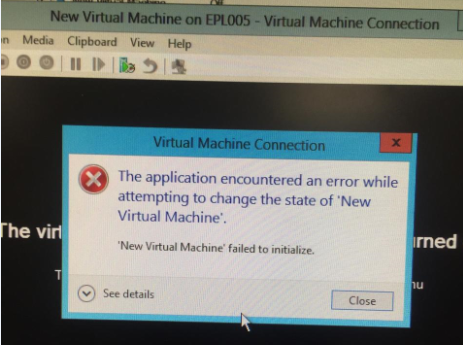 application encountered an error while attempting to change the state