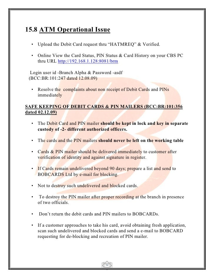 application for atm card issue