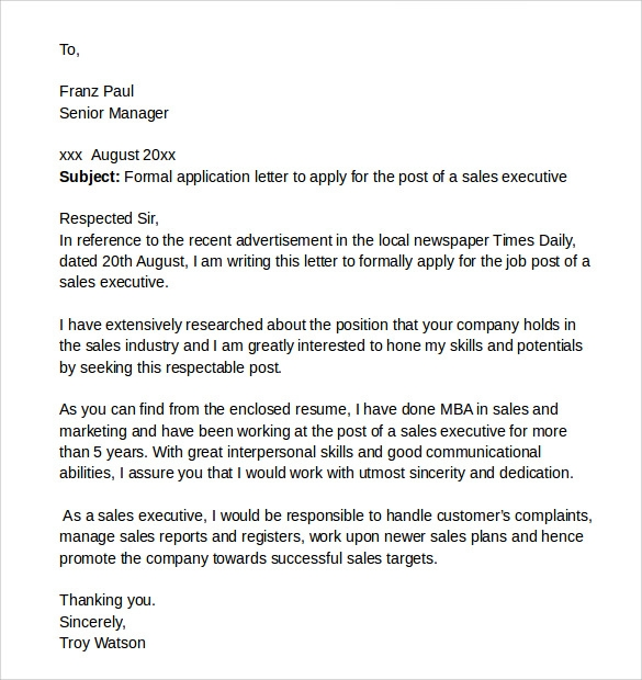 example of an application formal letter