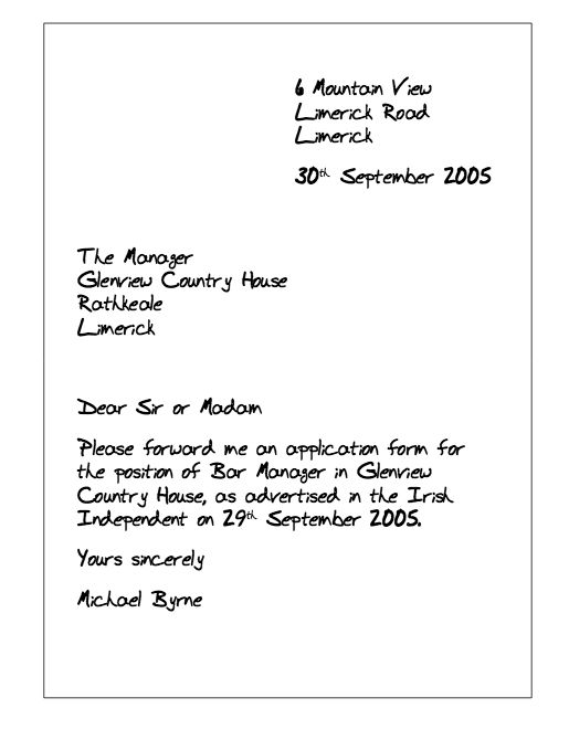 letter requesting review of application